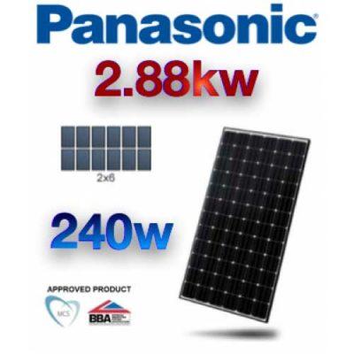 2.88 KW Panasonic PV Photovoltaic Solar Panel Complete Kit